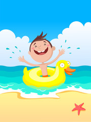 the child swims on a rubber ring, children in the summer