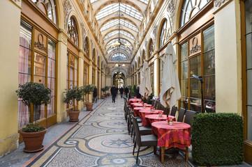 France, Paris, interior of famous terrace cafe at Galerie Vivien