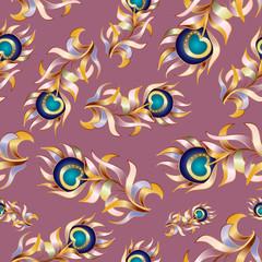 Bird feathers, abstract vector seamless pattern.