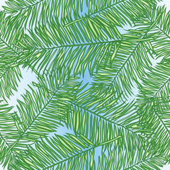 Palm leaves, abstract vector seamless pattern