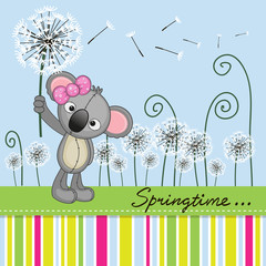 Cute Koala with dandelion