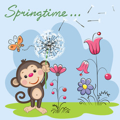 Cute Monkey with dandelion