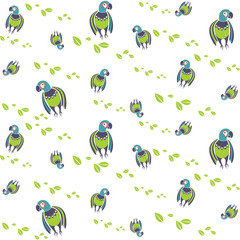 Macaw. dancing parrots seamless backgrounds