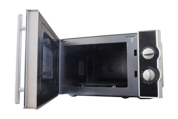 Empty microwave oven with open door