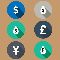 flat icons exchange rates. Long shadows. vector