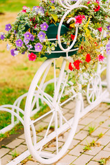 White Decorative Bicycle Parking In Garden