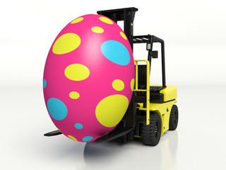 Forklift truck carrying a Easter egg. 3d render illustration.