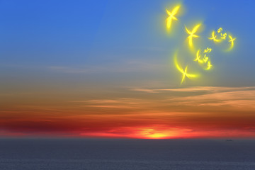 Fantasy birds and sunset over sea