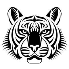 Realistic tiger face looks ahead. Tattoo of tiger head
