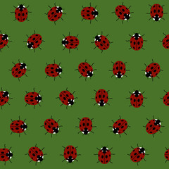 Seamless Pattern with Red Ladybugs and Ladybirds on Green.