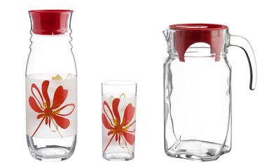 Glass jug with an empty glass, kitchen set