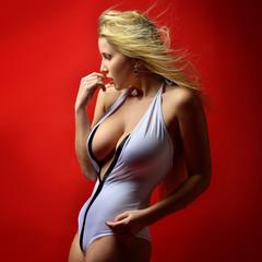 Beautiful woman un lingerie  posing in studio