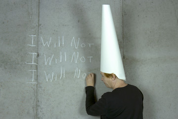I WILL NOT, Woman Wearing Dunce Cap