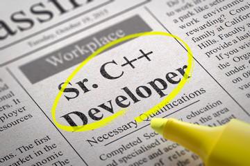 Sr. C plus  Developer Vacancy in Newspaper.