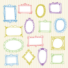Set of hand drawn frames. Hand drawn design elements