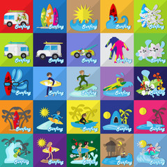 Surf Flat Icons Set: Vector Illustration, Graphic Design. Collection Of Colorful Icons. For Web, Websites, Print,Presentation Templates,Promotional,Mobile Applications And Promotional Materials