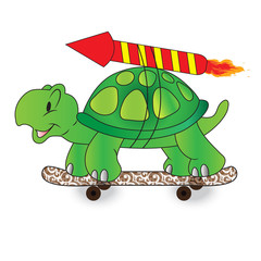 Quick, turtle, vector, illustration