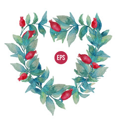 Vector watercolor stylish wreath with leaves and berries, heart