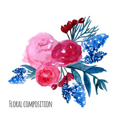 Watercolor vector wreath. Floral frame design. Hand drawn