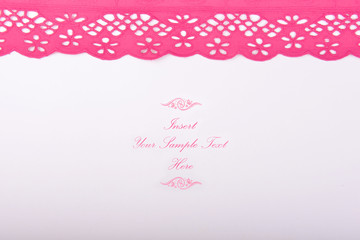 invitation card fuchsia lace