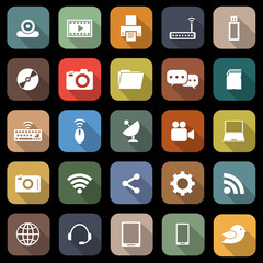 Hi-tech flat icons with long shadow