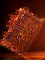 Leather Book on fire With Pentagram