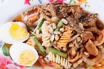 Somtum, mix papaya salad delicious food in thailand