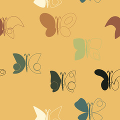 Seamless background with different butterflies