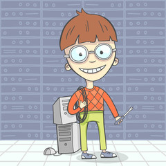 Cartoon vector illustration of geek man character