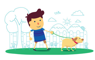 Kid going to take the dog for a walk in park