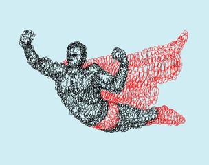 Superhero flying abstract vector