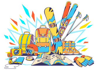 Vector illustration of backpacks and winter travel accessories w