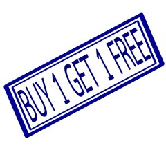 Buy 1 get 1 free blue stamp text on white