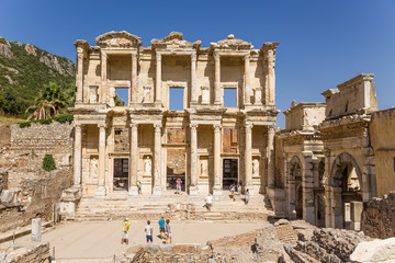 Ephesus. Celsus Library, 114 - 135 years AD and Gate, IV century