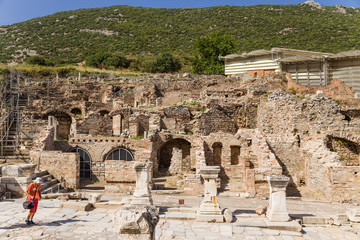 Ephesus. The ruins of buildings in the archaeological area