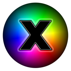 Cross party multicolor button style vote X sign with black X