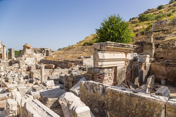 Ephesus. Ruins of ancient buildings at the foot of the mountain