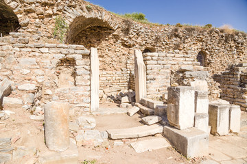 Remains in the archaeological site of Ephesus, Turkey