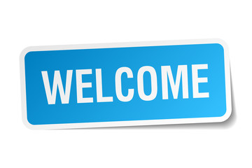 welcome blue square sticker isolated on white