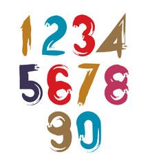 Vector stylish brush digits, handwritten numerals, sans serif nu