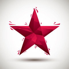 Red star geometric icon made in 3d modern style, best for use as