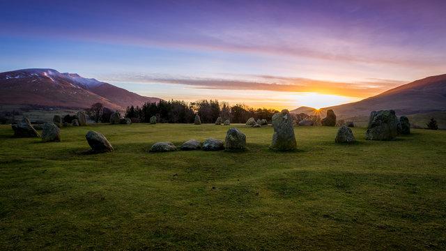 Sunrise at Castlerigg Stone Circle, The Lake District, England