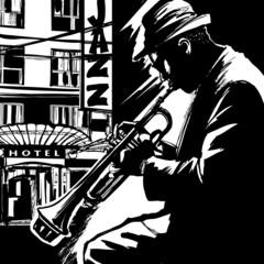 Fototapete - Jazz trumpet player-Vector illustration
