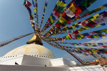 Prayer flags flying against the sun