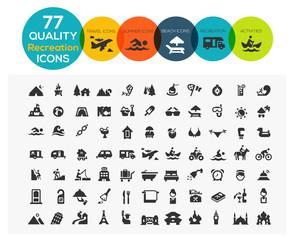 77 High Quality Recreation Icons including: travel, beach, sport