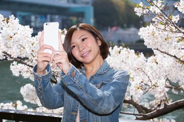 大川の桜バックに自撮りする女性