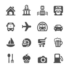 travel map location icon set, vector eps10