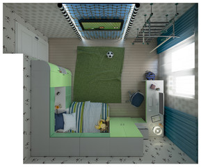 3d illustration of a child's room a young football player