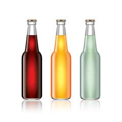 Glass soda bottles isolated on white vector