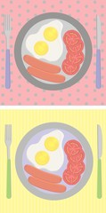 breakfast set on the table, fried egg, sausages,tomato VECTOR